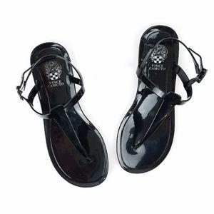 Vince Camuto Udele Black Jelly Flat Sandal